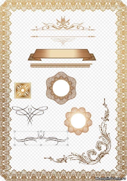 Gold Ornament Spiral Clip Art - Золотые Узоры На Прозрачном Фоне ... | 711x500