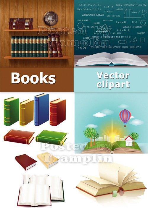 Школьный клипарт - Книги в векторе