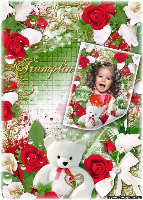 Красивая фоторамка с красными Розами