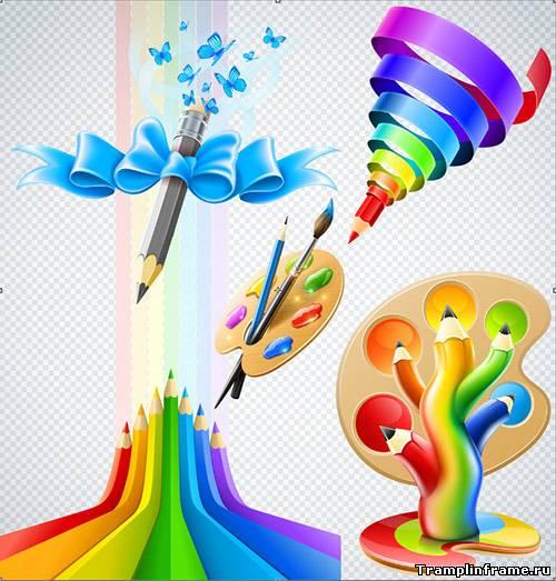Картинки палитры с красками и кисточками